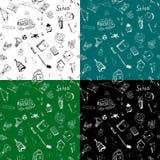 Modèle sans couture d'articles tirés par la main d'école dans quatre variantes de couleur Images stock