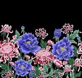 Modèle sans couture d'aspiration de main de vecteur de chrysanthème et de pivoines illustration libre de droits