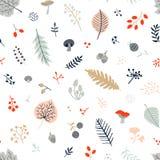 Modèle sans couture d'automne avec des feuilles, des baies, des champignons et le son Photos libres de droits