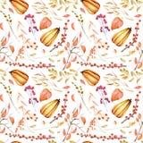 Modèle sans couture d'automne avec des potirons d'aquarelle, des branches d'arbre, la sorbe et d'autres baies Photographie stock