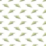 Modèle sans couture d'avion de papier de concept du dollar Photographie stock libre de droits