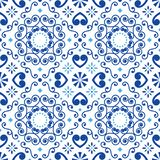 Modèle sans couture d'Azulejo de tuile géométrique de vecteur inspiré par art portugais, fond brun de tuiles de style de Lisbonne illustration libre de droits