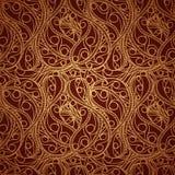Modèle sans couture d'or de vintage avec l'ornement détaillé fleuri Image stock