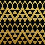 Modèle sans couture d'or des triangles sur le fond noir Illustration Stock