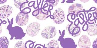 Modèle sans couture d'Easte avec la silhouette du lapin de Pâques illustration stock