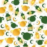 Modèle sans couture d'Eid Al Adha avec l'illustration de moutons pour l'eid Mubarak Celebration Background illustration stock