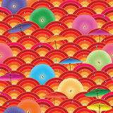 Modèle sans couture d'en demi-cercle japonais de parapluie Photo stock