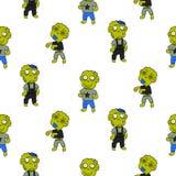 Modèle sans couture d'enfant mignon de bande dessinée de zombi illustration libre de droits