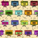 Modèle sans couture d'enregistreurs à cassettes illustration de vecteur