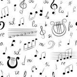 Modèle sans couture d'ensemble tiré par la main de symboles de musique Clef triple de griffonnage, Bass Clef, notes et lyre Type  Image stock