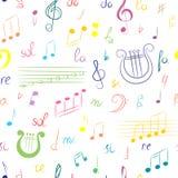 Modèle sans couture d'ensemble tiré par la main de symboles de musique Clef triple de griffonnage coloré, Bass Clef, notes et lyr Images libres de droits