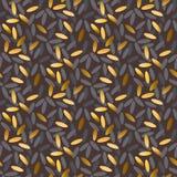 Modèle sans couture d'or et de grain noir de riz Image stock