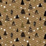 Modèle sans couture d'or et en bois noirs d'hiver de Noël Photos libres de droits