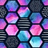 Modèle sans couture d'hexagone d'aquarelle Photo libre de droits