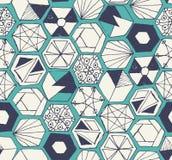 Modèle sans couture d'hexagones tirés par la main de griffonnage Image libre de droits