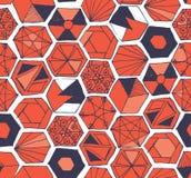 Modèle sans couture d'hexagones tirés par la main de griffonnage Photos stock