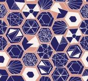 Modèle sans couture d'hexagones tirés par la main de griffonnage Photo stock