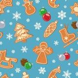 Modèle sans couture d'hiver avec le pain d'épice avec le lustre et les flocons de neige Vecteur illustration libre de droits