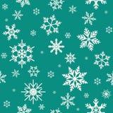 Modèle sans couture d'hiver avec les flocons de neige blancs plats sur le fond de bleu bleu vert Image libre de droits