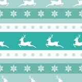 Modèle sans couture d'hiver avec les flocons de neige et les cerfs communs blancs avec des andouillers Images libres de droits