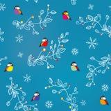 Modèle sans couture d'hiver ou de Noël avec les oiseaux, la neige et les décorations illustration libre de droits