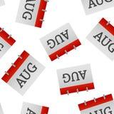 Modèle sans couture d'icône d'août de mois civil sur un fond blanc illustration libre de droits