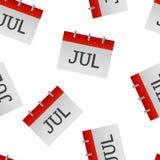 Modèle sans couture d'icône de juillet de mois civil sur un fond blanc illustration de vecteur