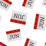 Modèle sans couture d'icône de juin de mois civil sur un fond blanc illustration stock