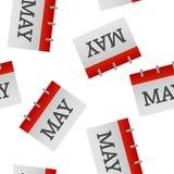 Modèle sans couture d'icône de mai de mois civil sur un fond blanc illustration stock