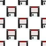 Modèle sans couture d'icône plate à disque souple Images stock