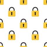 Modèle sans couture d'icône plate fermée de cadenas Images stock