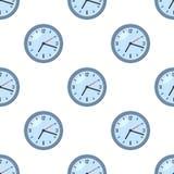 Modèle sans couture d'icône plate ronde d'horloge Image stock