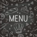 Modèle sans couture 1 d'icônes de griffonnage de nourriture de vecteur de cuisson de tableau Photos stock