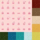 Modèle sans couture d'icônes de sac à main Photos libres de droits