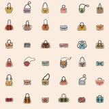 Modèle sans couture d'icônes de sac Photographie stock libre de droits