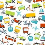 Modèle sans couture d'icônes de transport Photographie stock
