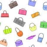 Modèle sans couture d'icônes simples de sac, de bourse, de sac à main et de valise Photographie stock libre de droits