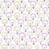 Modèle sans couture d'idée d'ampoule de bande dessinée de vecteur Photos libres de droits
