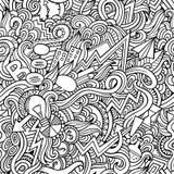 Modèle sans couture d'idée tirée par la main mignonne de griffonnages de bande dessinée illustration de vecteur