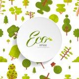 Modèle sans couture d'illustration avec le lettrage, les arbres verts et le buisson sur le fond blanc, style plat Photos libres de droits