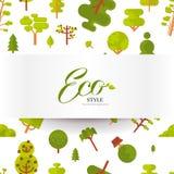 Modèle sans couture d'illustration avec le lettrage, les arbres verts et les buissons sur un fond blanc dans le style plat Images libres de droits