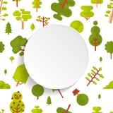 Modèle sans couture d'illustration avec les arbres et les buissons verts sur le fond blanc dans le style plat Photographie stock libre de droits
