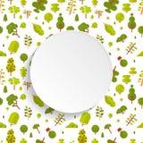 Modèle sans couture d'illustration avec les arbres et les buissons verts sur le fond blanc dans le style plat Photos stock