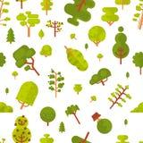 Modèle sans couture d'illustration avec les arbres et les buissons verts sur un fond blanc dans le style plat illustration de vecteur