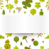 Modèle sans couture d'illustration avec les arbres et les buissons verts sur un fond blanc dans le style plat Images libres de droits