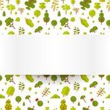 Modèle sans couture d'illustration avec les arbres et les buissons verts sur un fond blanc dans le style plat Photos libres de droits