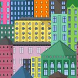 Modèle sans couture d'illustration de vecteur de maisons illustration stock