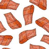 Modèle sans couture d'image avec Salmon Filet pour le menu de fruits de mer Illustration de vecteur d'encre d'isolement sur un gr Photos libres de droits
