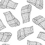 Modèle sans couture d'image avec Salmon Filet pour le menu de fruits de mer Illustration de vecteur d'encre d'isolement sur un gr Photo stock