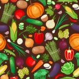 Modèle sans couture d'ingrédients de légumes Photographie stock libre de droits